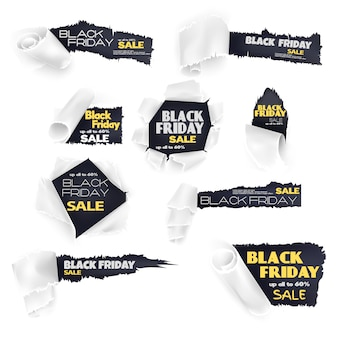 Черная пятница продажа бумаги баннер набор