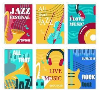 ジャズフェスティバル、ライブ音楽コンサートポスター、チラシ、カードテンプレートセット。