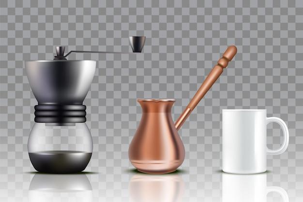 トルココーヒーセットのリアルなイラスト