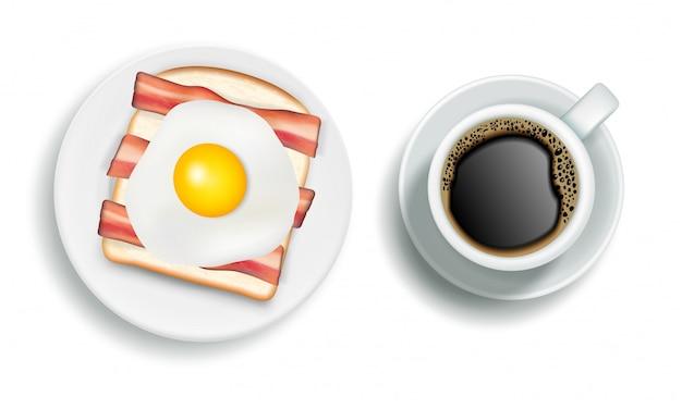 アメリカの朝食のリアルなイラスト