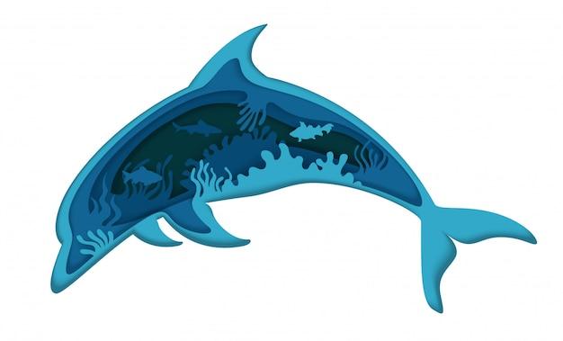 Двойной экспозиции слоистых бумаги вырезать прыжки дельфина