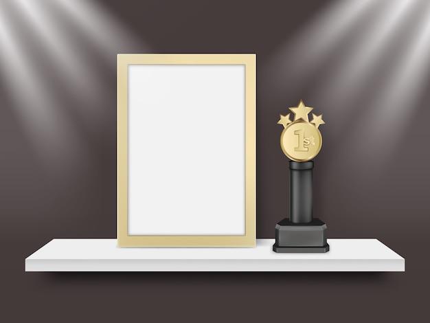 Пустой легкая рама и металлический приз трофей вектор реалистичные иллюстрации
