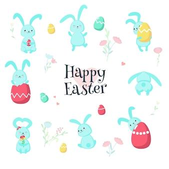 Симпатичные пасхальные кролики с яйцами изолированных иллюстрация