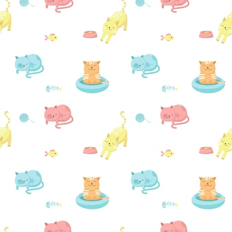 面白い猫はシームレスパターンをベクトルします。布、テキスタイル、壁紙、幸せな猫が食べたり、眠ったり、入浴したりするための包装紙のためのクリエイティブデザイン。