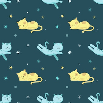 かわいい眠っている猫とのシームレスなパターン
