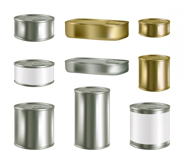 缶詰食品現実的な空白の金属パッケージセット