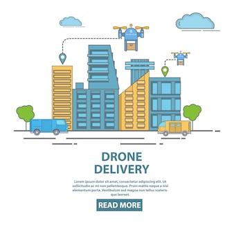 Город беспилотный доставки концепции векторные иллюстрации. квадрокоптеры, перевозящие пакеты, продукты питания или другие товары. плоский линейный стиль дизайн плаката, флаер для компании доставки дрон.