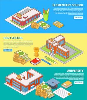 教育概念への投資フラット等尺性水平バナーセット