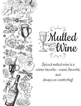 手描きのグリューワインのポスター。ワイングラスと黒と白のスケッチ。白い背景の上のレトロなビンテージスタイルのメニューカードデザインテンプレート