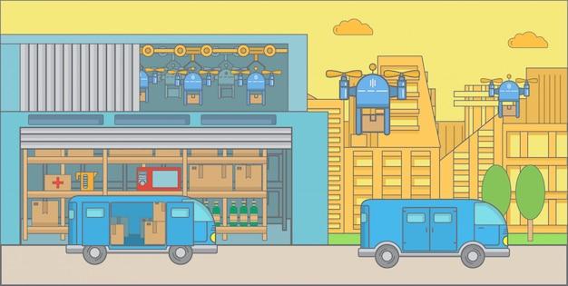Иллюстрация вектора концепции поставки трутня для рекламы дела поставки. квадрокоптеры доставляют посылки покупателям в стиле плоского дизайна.