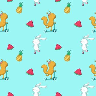 夏のシームレスパターン。ベクトル手描き動物バニー、リス、フルーツパイナップルとスイカのスライス。