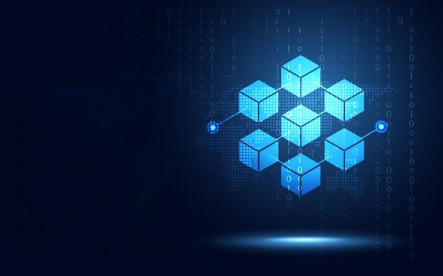 暗号通貨ブロックチェーンサーバーの抽象的な背景