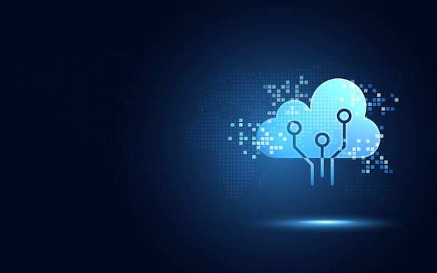ピクセルデジタル変換抽象的な技術の背景を持つ未来的な青い雲