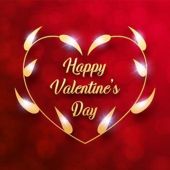 幸せなバレンタインデーメッセージ赤背景とネックレスフレームに黄金の葉