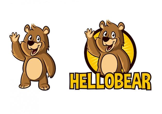 漫画かわいい手を振るクマキャラクターマスコットロゴ