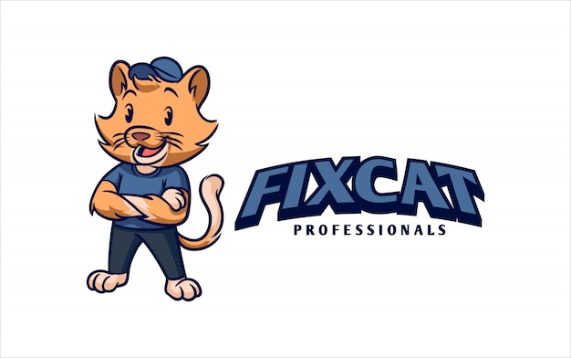 漫画のレトロなヴィンテージの便利屋または修理猫猫キャラクターマスコットロゴ