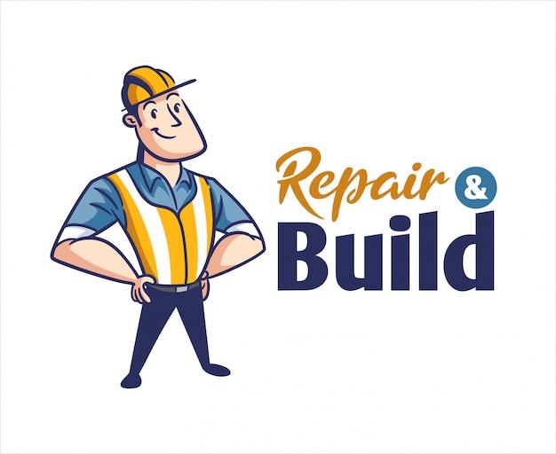 Логотип талисмана персонажа из мультфильма ретро винтажный подрядчик или рабочий-строитель