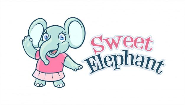 漫画の愛らしい、かわいい象の女の子キャラクターマスコットロゴ