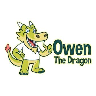Мультфильм весело и дружелюбный дракон персонаж талисман логотип