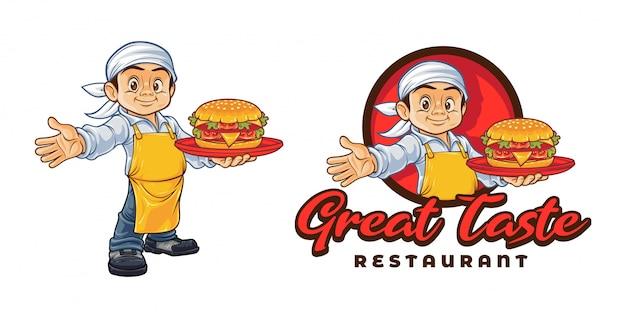 ハンバーガーキャラクターマスコットロゴを保持している漫画シェフ