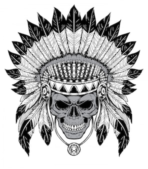 黒と白の頭蓋骨チーフ