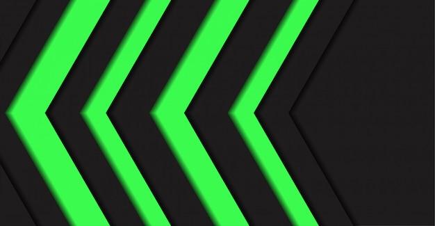 抽象的な緑色光矢印方向黒空白スペースの背景