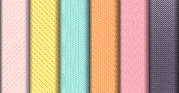 幾何学的なカラフルなラインのシームレスなパターンコレクション
