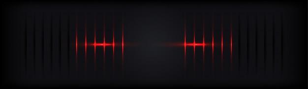 赤い光沢のあるラインと抽象的な黒い影の背景