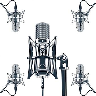Вектор рекордер микрофон векторные иллюстрации
