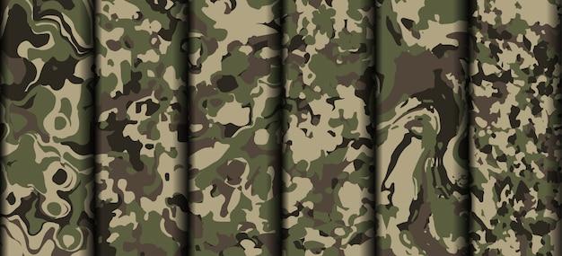 さまざまな軍迷彩服パターンベクトル