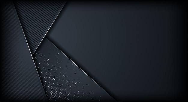 キラキラの詳細と抽象的な動的モダンな暗い紙レイヤーの背景