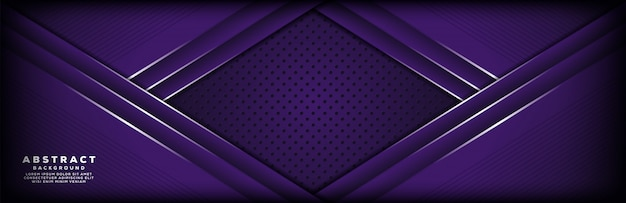 ドットとラインの組み合わせで豪華な紫色のバナーの背景
