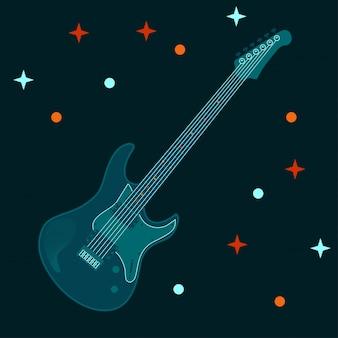 ギターの電子楽器デザインのベクトルイラスト