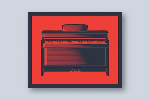Иллюстрация классического фортепиано в винтажном стиле