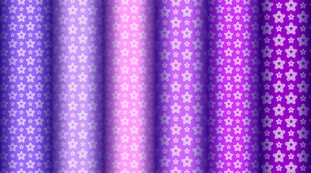 多くの色で設定された美しい抽象的な星のパターン