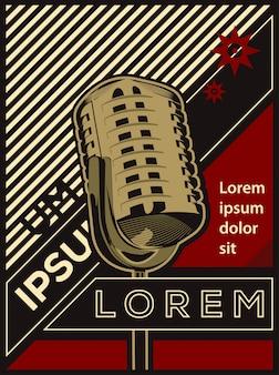 Векторная иллюстрация плакат классический ретро винтаж микрофон