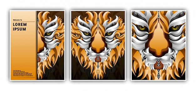 Шаблон баннера с головой в стиле градиента тигра