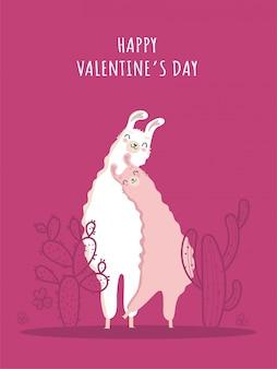 Коллекция дня святого валентина и ламы, влюблённая в кактус и сердце, и множество деталей