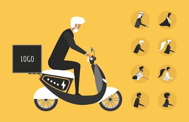Мультфильм картина с человеком, езда быстро современный электрический мото. концепция доставки