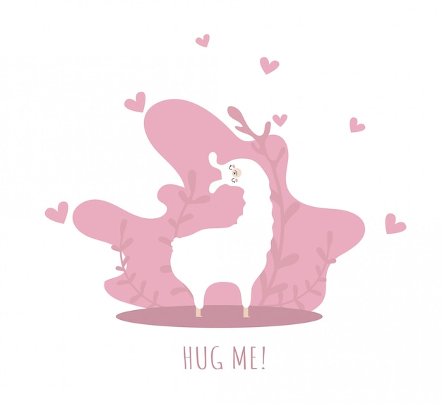 Лама влюблен в сердца и много деталей. обними меня. симпатичная альпака.