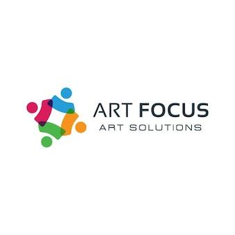 カラフルな社会的グループのロゴ