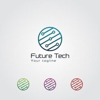 抽象円形テクノロジーロゴ