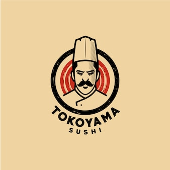 Шаблон логотипа суши шеф-повар