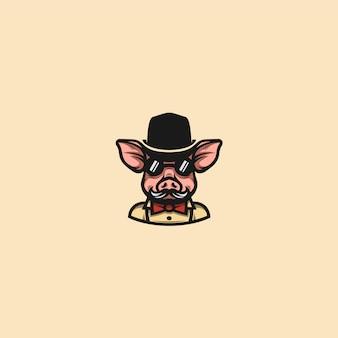 豚紳士のクリップアート
