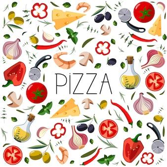 ピザボックスのバナー。イタリアのピザのための伝統的なさまざまな食材