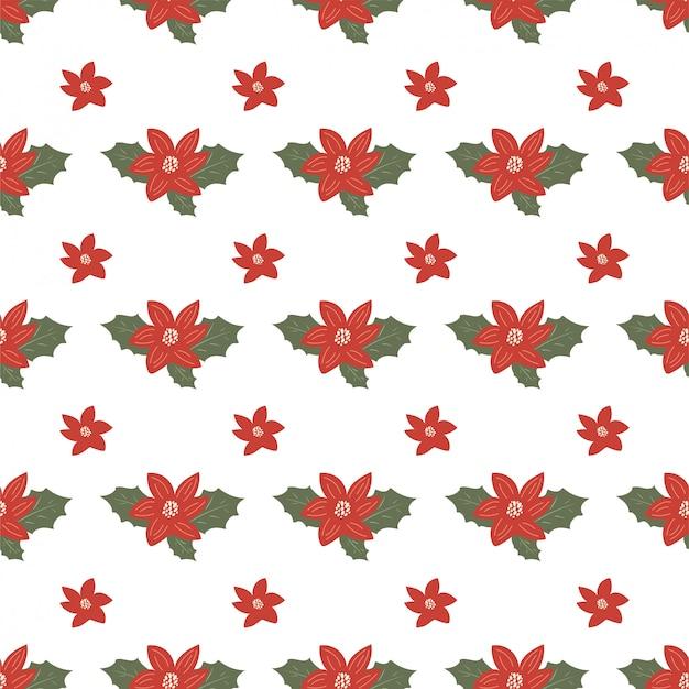 クリスマスのヤドリギ、ヒイラギ、手でシームレスなパターンには、スタイルが描かれています。