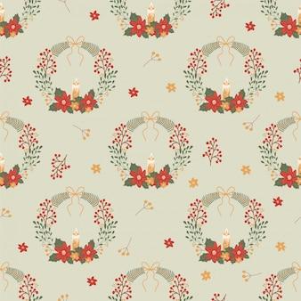 ヤドリギの花輪とクリスマスのシームレスパターン