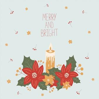 Рождественская открытка с омелой и свечой