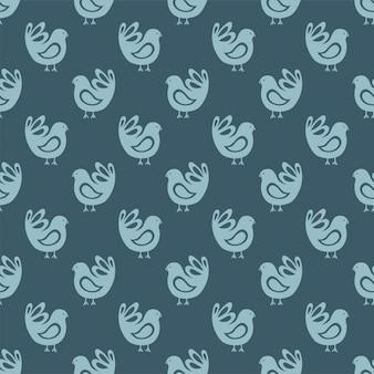 フラットスタイルの青い鳥とのシームレスなパターン