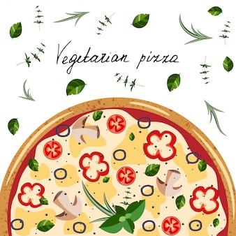 ピザボックスのバナー。全体のベジタリアンピザ、ハーブ、手の手紙の背景。